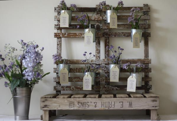 Rustic Wedding Table plan With Silver Flower Pots