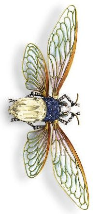 AN ART NOUVEAU DIAMOND, SAPPHIRE AND ENAMEL BROOCH, BY BOUCHERON. Designed as a bumblebee with a rose-cut diamond and fancy-cut sapphire body, an old European and rose-cut diamond head and antennae, and cabochon cat's eye chrysoberyl eyes, extending pale greenish blue and lavender plique-à-jour enamel wings, mounted in 18k yellow and white gold, circa 1895, with French assay marks, in a burgundy leather fitted case. With maker's mark for Boucheron. #Boucheron #ArtNouveau #brooch
