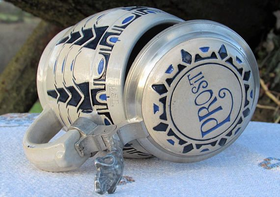 1900s Prosit Marzi Remy German Beer Stein Antique Jugendstil