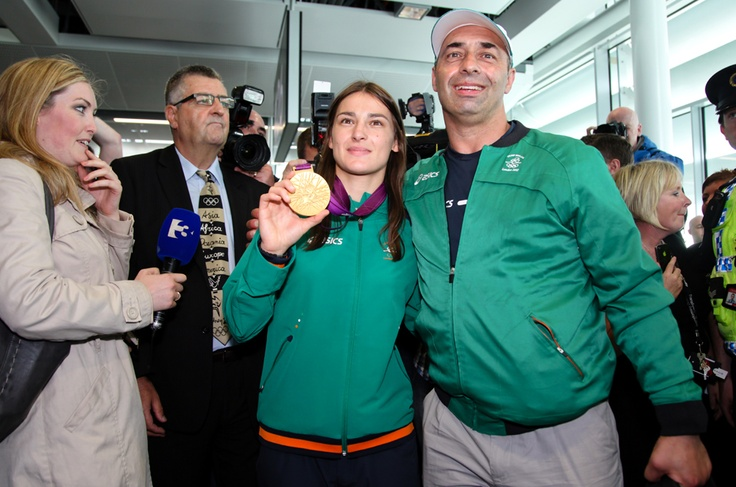Katie Taylor and her father Peter Taylor at Dublin Airport #TeamIreland #Olympics #London2012 #Ireland #Dublin