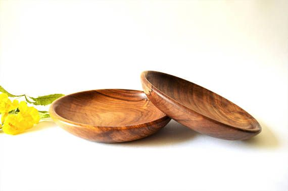 2 Hand turned Salad plates, Wooden Salad plate, Rosewood plate, Hand-turned plate, kitchenware, Dining table decoration, healthy foodie gift