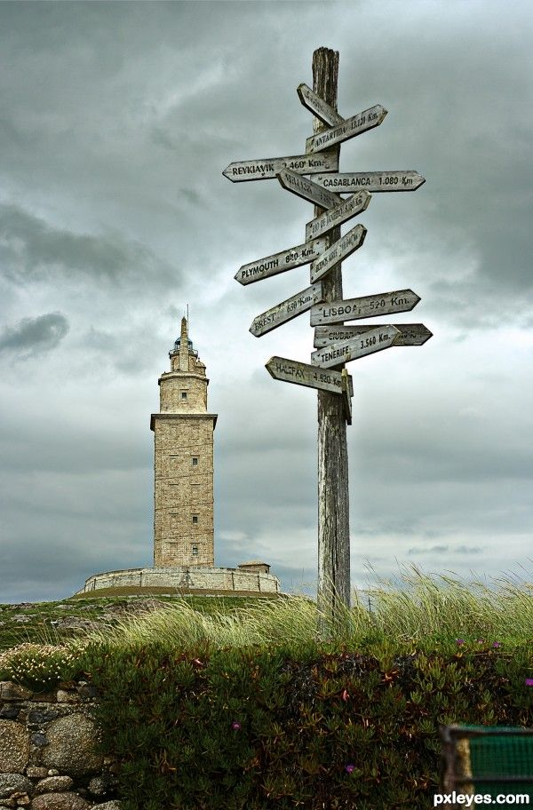 Tower of Hercules, coast of A Coruña, Galicia, Spain. The structure was built during the reign of the Roman Emperor Trajan 1900 years ago and is the oldest working lighthouse in the world.