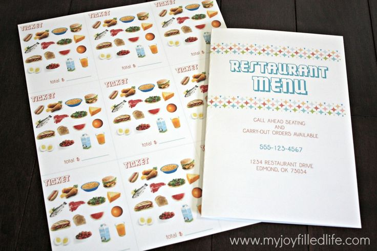 Lots of free printables for pretend play - restaurant, doctor/vet, zoo, library