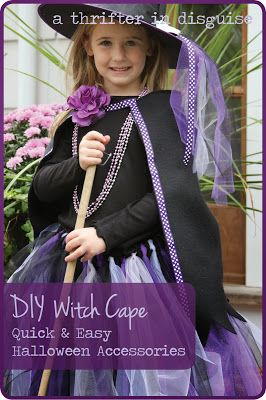 Halloween Witch Costume Fleece Cape: So easy to make and less than $5!