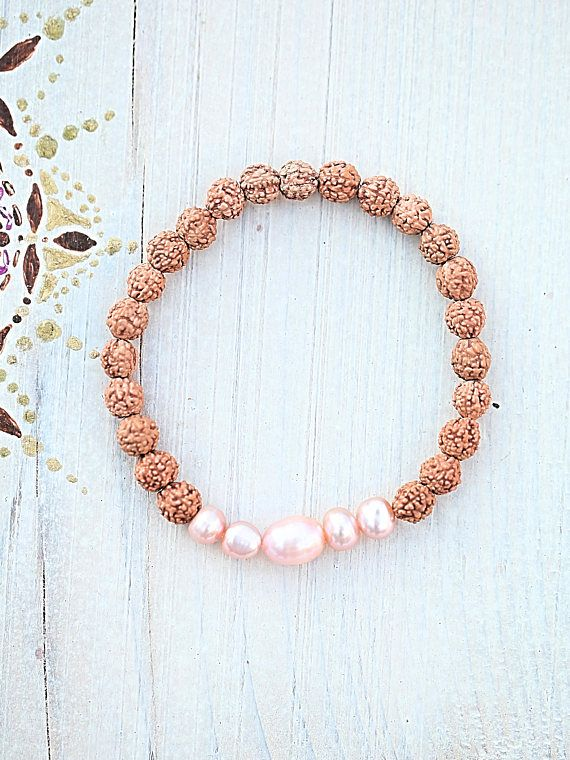 Rudraksha bracelet fresh water pearls natural pink for
