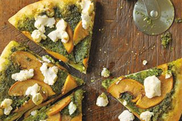Pizza with Goat Cheese, Peaches, and Almond-Tarragon Pesto (Click for more peach recipes): Vegans Recipe, Pizza Recipe, Peaches Recipe, Vegetarian Recipe, Pesto Recipe, Raw Recipe, Goats Cheese, Almonds Tarragon Pesto, Vegans Raw