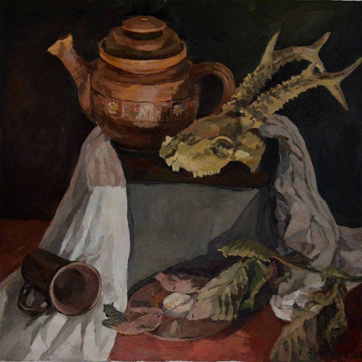 Skull still life oil painting by Victoria Duryagina