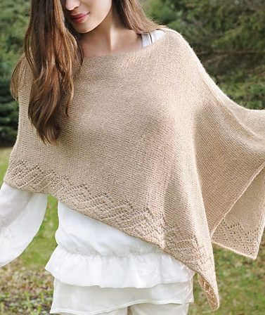 Free through November 2017 Knitting Pattern for Etched Rio Poncho - Free until November 30, 2017 with code etched8. Lace bordered stockinette rectangular shawl. Designed by Sarah Smuland for Blue Sky Alpacas