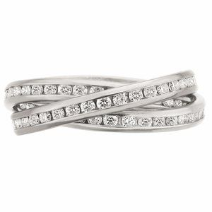 """Gorgeous Diamond """"Rolling"""" Ring by Memoire has three interlocking bands with round channel set diamonds set in platinum."""