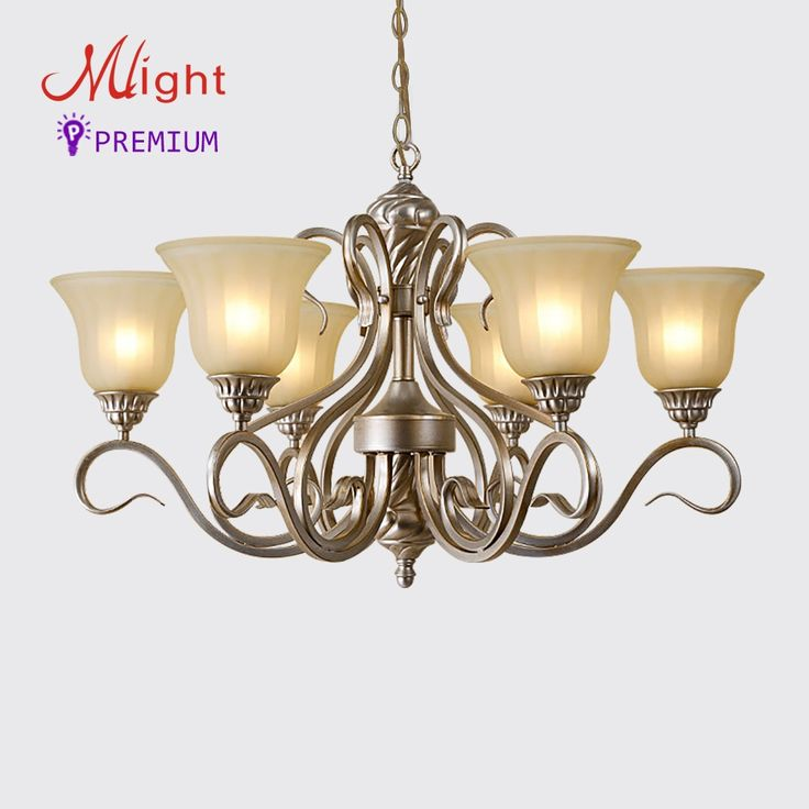 335.99$  Watch now  - 6 Arms Vintage Wrought Iron Frosted Glass Chandelier Dining Living Room Avizeler Main Lighting Lamp