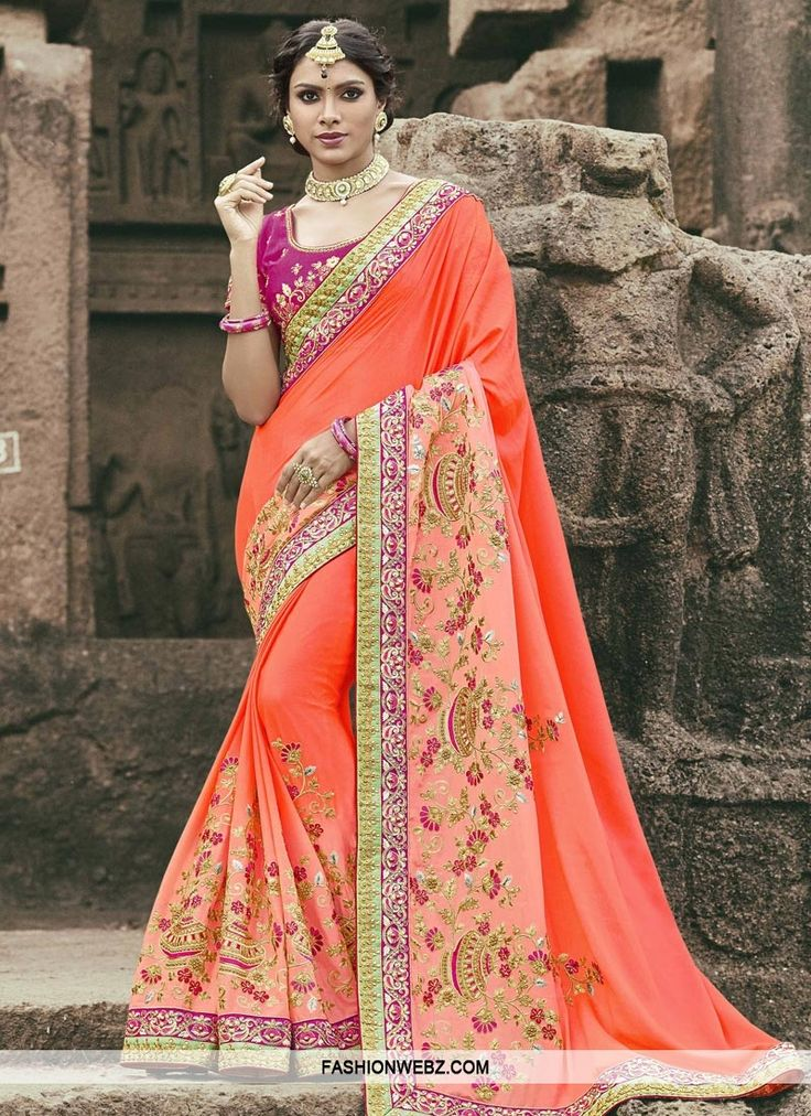This #coral #artsilk #contemporary #style #saree is including the lovely #glamorous displaying the sense of graceful.