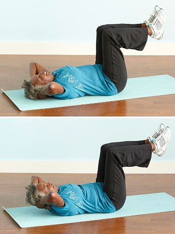 Exercise 6: Bent-Knee Crunches - @Better Homes and Gardens