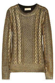 MICHAEL Michael Kors | Metallic-coated cable-knit sweater | NET-A-PORTER.COM