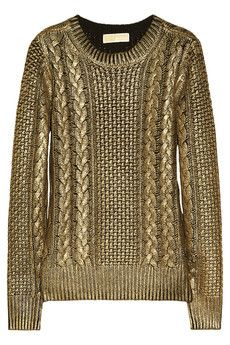 metallic cable-knit