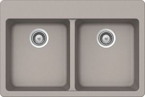 ALIVE N-200 Exceptional freedom with two large bowls and extra functionality  PRODUCT BENEFITS Double bowl measures 33-inch wide and 22-inch high with a 9-1/2-inch bowl depth For topmount installation on 36-inch cabinets Finished in concrete for beautiful Earth tone Limited Lifetime Warranty