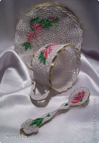 Quilled cup, saucer and spoon