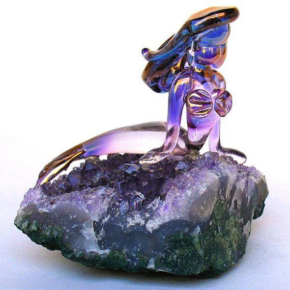 Mermaid Figurine Sculpture Blown Glass Amethyst Crystal