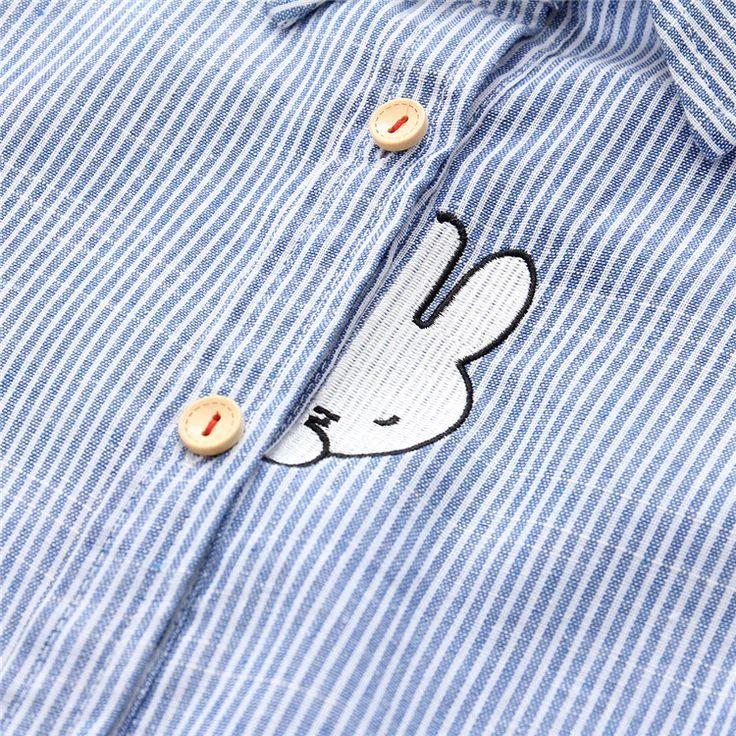 Новый Стиль Кролик Вышивка Морковь Collor Полосы Рубашки женские Рубашки Хорошее Качество С Длинным Рукавом Блузки Рубашки Женский Синий S XL купить на AliExpress