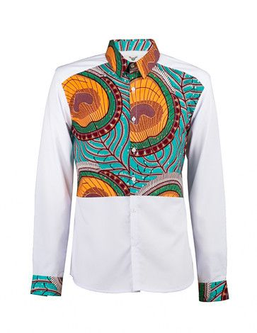 Men's African print shirt-White colour block