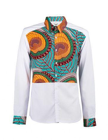 Men's African print shirt-White colour block