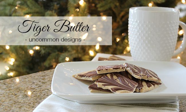 Our family favorite during the holidays...Tiger Butter! A simple, 3 ingredient treat that requires no baking. So incredibly yummy! via Uncommon Designs