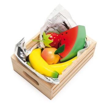 Holzspielzeug Marktstand Kiste \'Obst\' 7-teilig 16cm