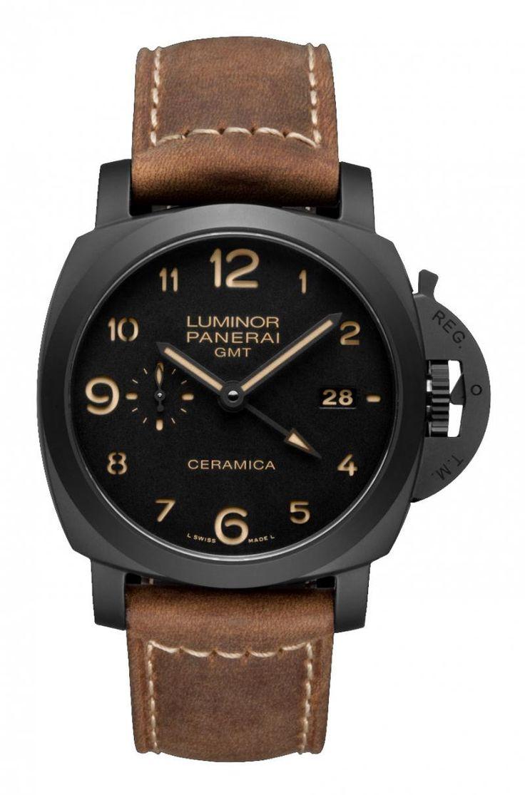 Officine Panerai PAM00441 Luminor 3 Days GMT Automatic Ceramica. #panerai - черные - швейцарские мужские наручные часы