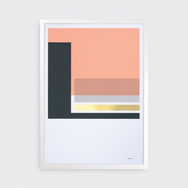 Scottish design studio, Tom Pigeon, have created two new print collections, one based on three local harbours. Harbour 1's beautiful linear structures in charcoal and coral with a brass metallic foil are serene and sophisticated, perfect for anywhere in the home #print #art #studio #home