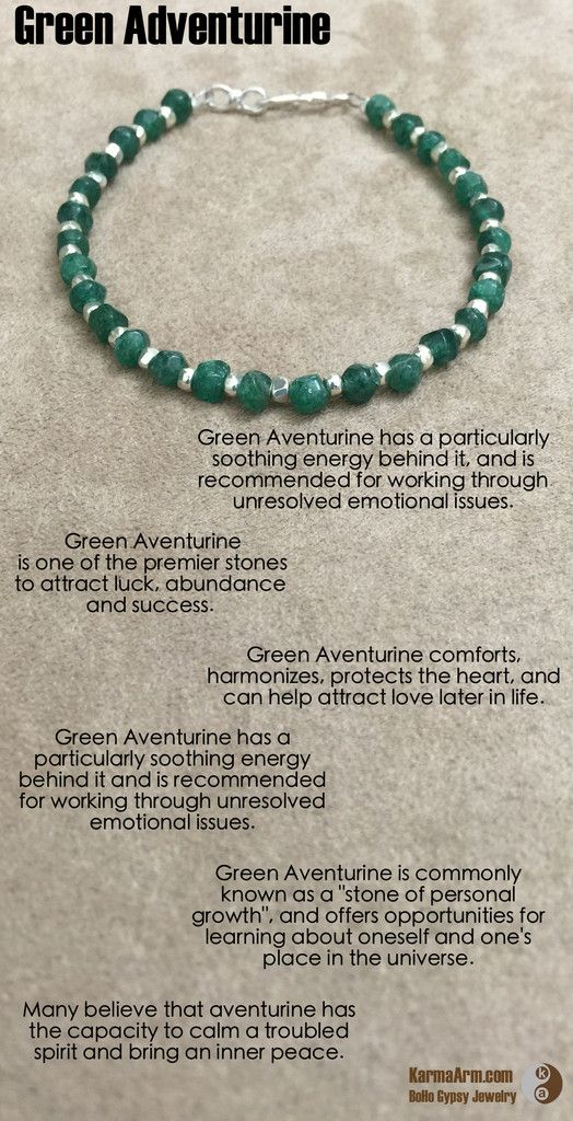 Green Aventurine comforts, harmonizes, protects the heart, and can help attract love later in life. It is one of the premier stones to attract luck, abundance and success. Green Aventurine has a particularly soothing energy behind it, and is recommended for working through unresolved emotional issues.  Layering Gemstone Bracelet: Green Aventurine + Silver Nuggets