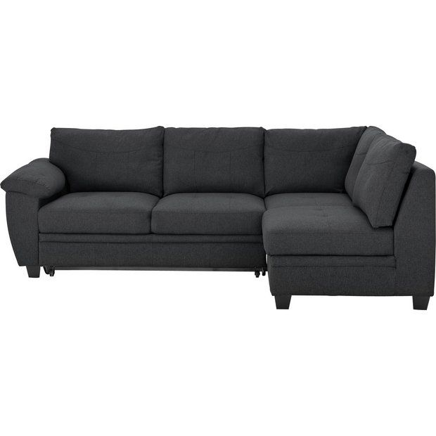 Buy Argos Home Fernando Right Corner Fabric Sofa Bed Charcoal Sofa Beds Charcoal Sofa Sofa Bed Futon Bedroom