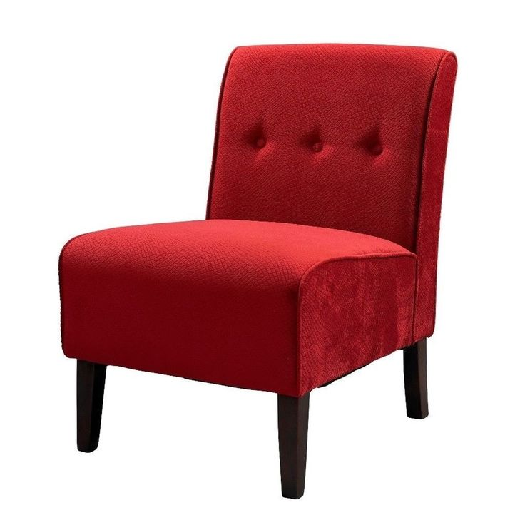 Linon Cozy Bright Red Fabric Padded Button Tufted Modern Accent Chair New #Linon