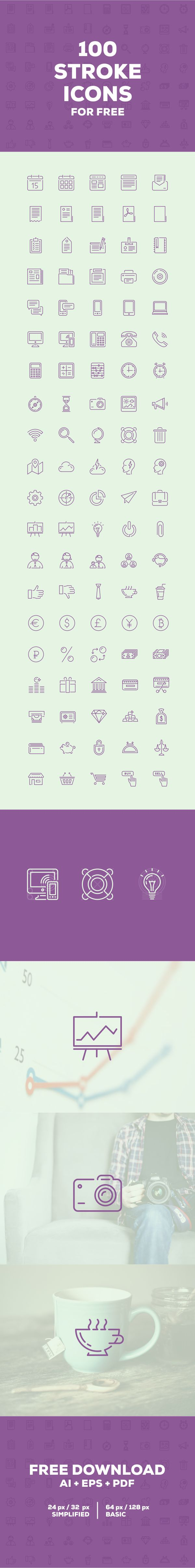 100 free icons on Behance