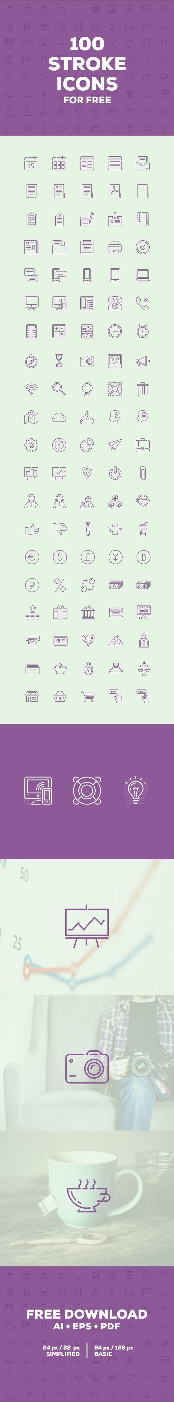 100 free icons on Behance