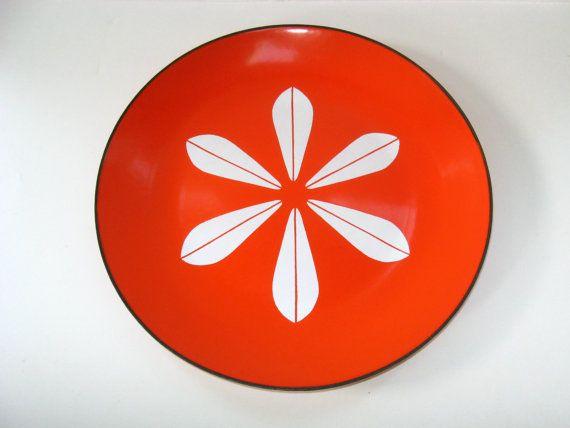 "Cathrineholm Norway Orange Lotus Enamel 10.25"" Dinner Plate EUC - Mid Century Modern - More Available"
