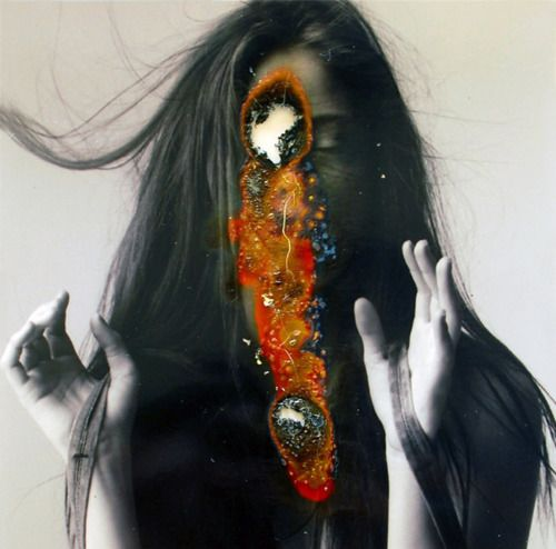 picture, girl, burnt, burn hole, head, orange, red, black, decomposing, cause and effect
