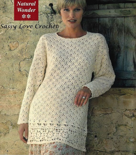 Crochet Over-sized Tunic Pattern, Sweater Beach Tunic Top Pattern, Crochet Woman Top Coverup Tunic  PDF DOWNLOAD-Sizes 8-18