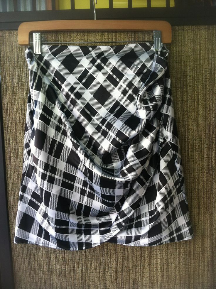 Cindy - modern menswear graphic plaid mock sarong skirt - Color Blk/White - Sizes Small, Medium and Large - Price $149.00 - Call Us: 646-284-5049