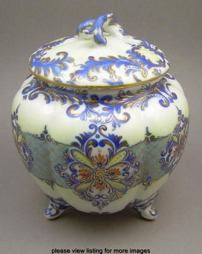 Antique NPSK Kato Shubei Nippon Japan Enamel Gilt Porcelain Cracker Biscuit Jar | eBay