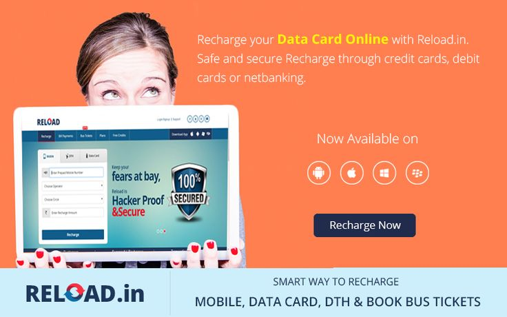 Recharge your ‪#DataCard‬ Online with Reload.in. Safe and secure ‪#Recharge‬ through credit cards, debit cards or netbanking. Visit @ www.reload.in/datacard/