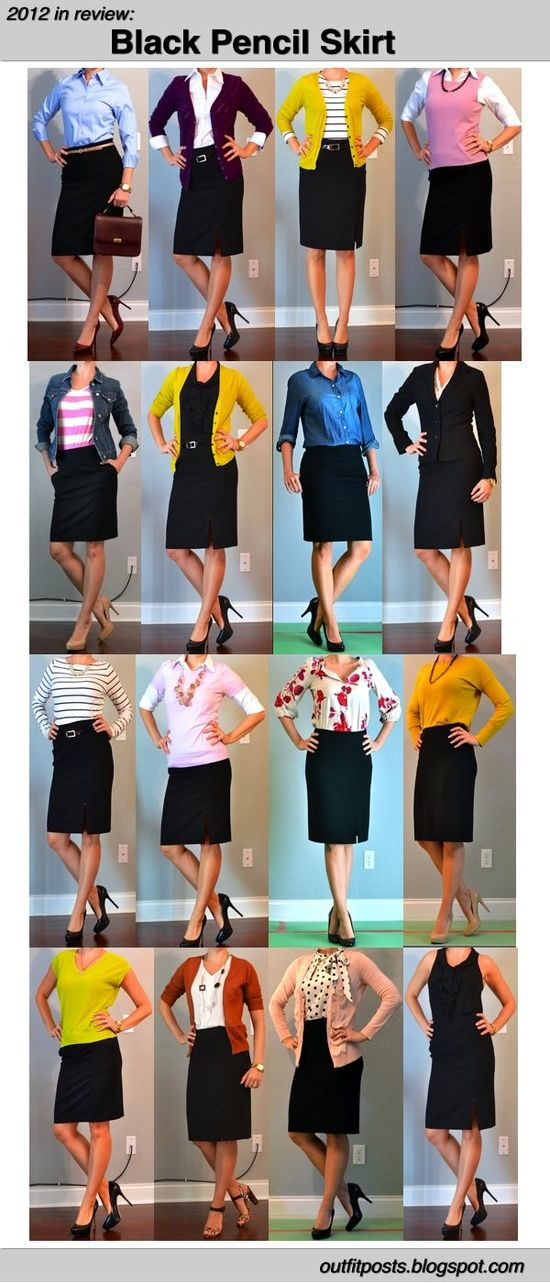 Outfit Posts shares her 2012 outfits in the black pencil skirt. Ideas for me and my black/navy non-pencil skirts. These would all work with navy, too.