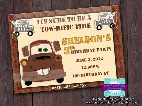 Tow Mater Birthday Invitation - Printable