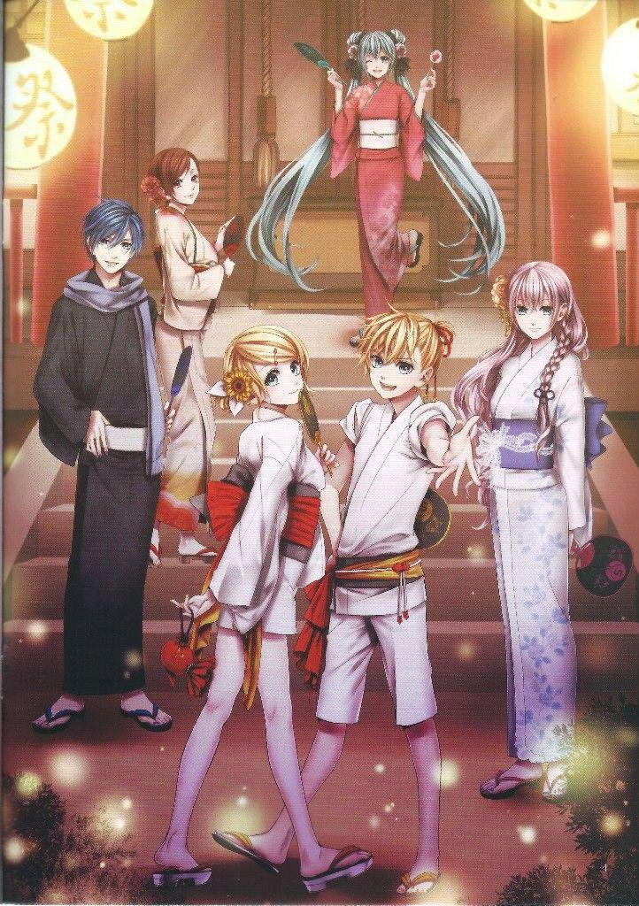 VOCALOID- Hatsune Miku (CV-01), Megurine Luka (CV-03), Kagamine Rin and Len (CV-02), KAITO, MEIKO