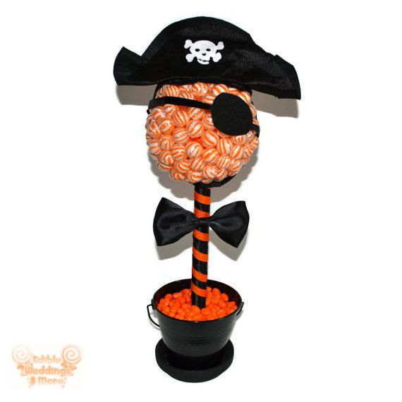 .Halloween Pirate Candy Topiary - from Edible Weddings on etsy - great idea for a DIY or for purchase.