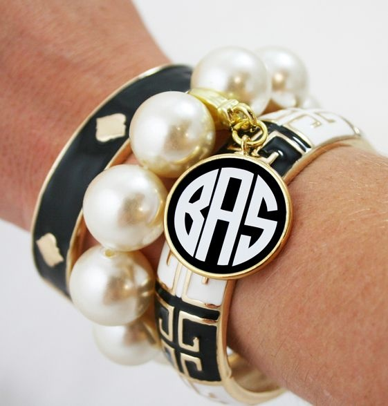 Love all these!: Arm Candy, Monograms Fornash, Bangles Sets, Southern Charms, Bracelets Sets, Black White, Fornash Grecian, Pearls Bracelets, Grecian Bangles