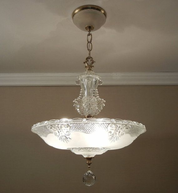 """Antique Light Chandelier 1930-40's Vintage Crystal Frosted Glass Ceiling Light Fixture 14.5"""" Rewired"""