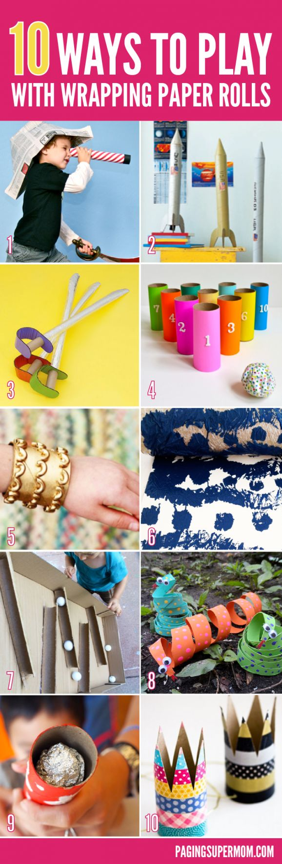 10 Fun Ways to Use Wrapping Paper Rolls via @PaigngSupermom #Christmas #KidsCrafts
