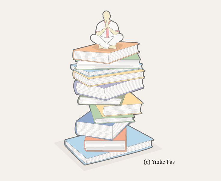 Parool, boeken, books, De heilige van de berg Koya, mountain, pile of books, Ymke Pas, illustratie laten maken, illustration