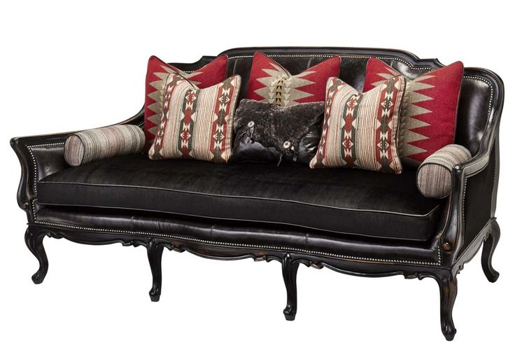 Massoud Ebony Southwestern Sofa Western Sofas and Loveseats - Rustic does not get any more chic than this stylish sofa done in black fabric with leather on inside back, seat deck and welting. Stunning Southwestern design pillows, bolsters and leather pillow with faux hide pillow are included.