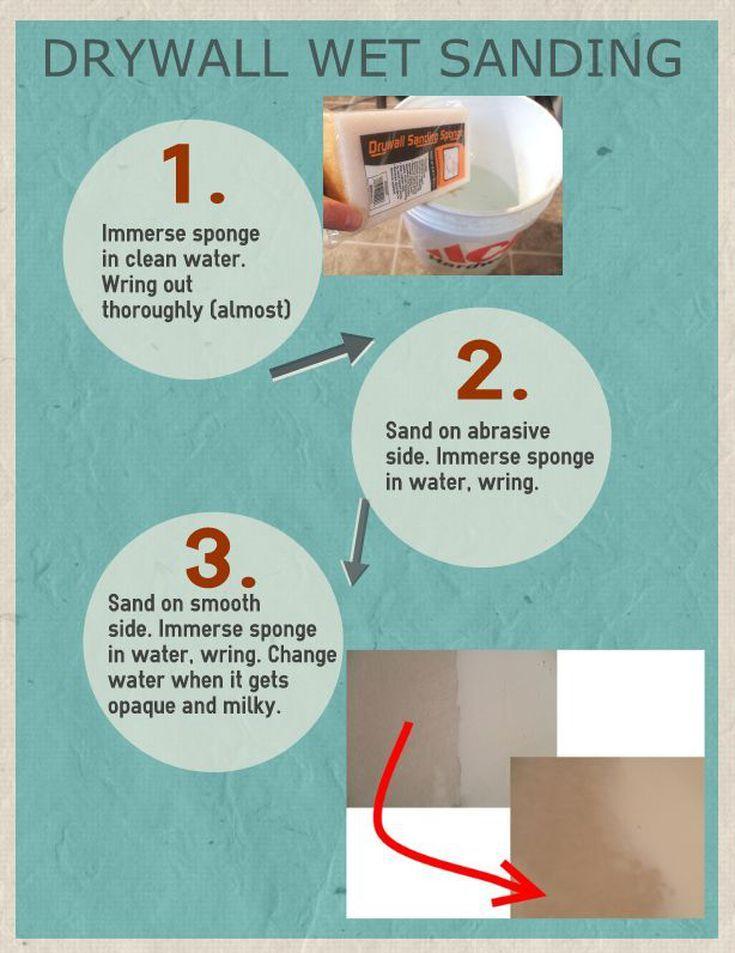 How To Avoid Dust By Wet Sanding Drywall Drywall Mud Drywall Diy Sanding