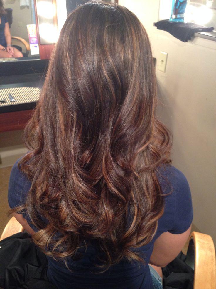 Brown W Peek A Boo Highlights Hair Pinterest Hair